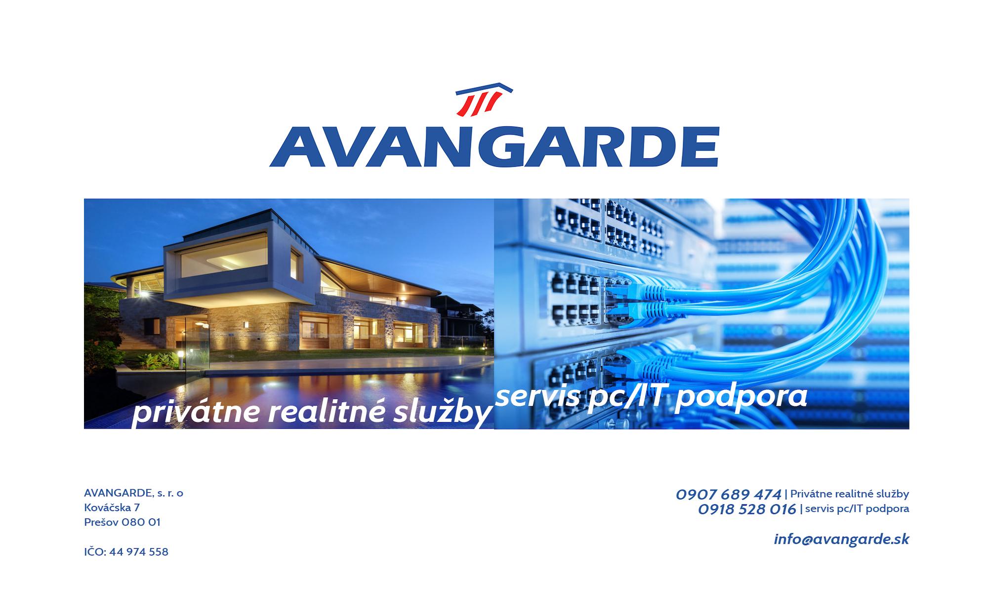 avangarde | privátne realitné služby | servis pc a IT podpora